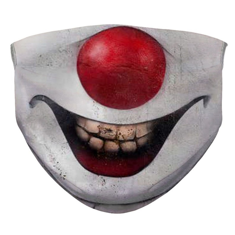 Scary Clown Face Mask Funny Evil Mouth Cover for Adults & image 0