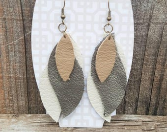 Tan, gold, and white nickel free Leather Earrings