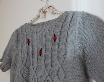 Grey Sweater Top - Vintage with Rose Detail