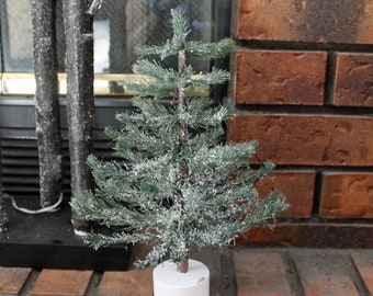 vintage miniature christmas tree 11 tabletop green with white flocked branches artificial primitive twig table top tree - Miniature Christmas Tree