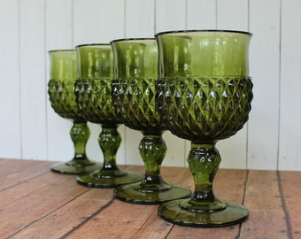 Vintage Light Green Glass Goblets,Two Morning Dew Glass Water Goblets in Diamond Point design6.25 T