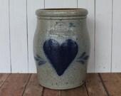 Vintage Rowe Pottery Works 1985 Salt Glazed Stoneware Crock Vase with Heart Design Cambridge WI Handmade Ceramic 1990s AS IS