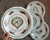 Vintage Pfaltzgraff Christmas Heritage 12 Days of Christmas Salad Plates Set of 4 Plates 1 thru 4 Partridge Doves French Hens Calling Birds