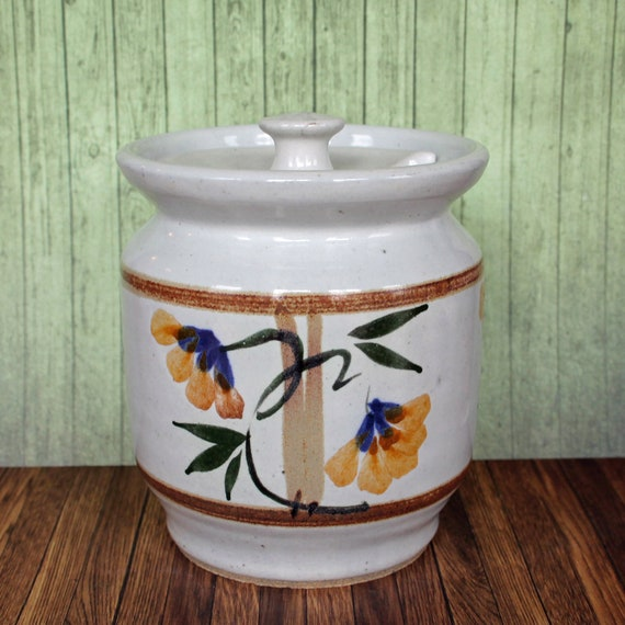 Vintage Stoneware Kitchen Canister with Lid Honey Pot Storage Sugar Dish  Ceramic Pottery Hand Painted Floral Design Jar Free Shipping
