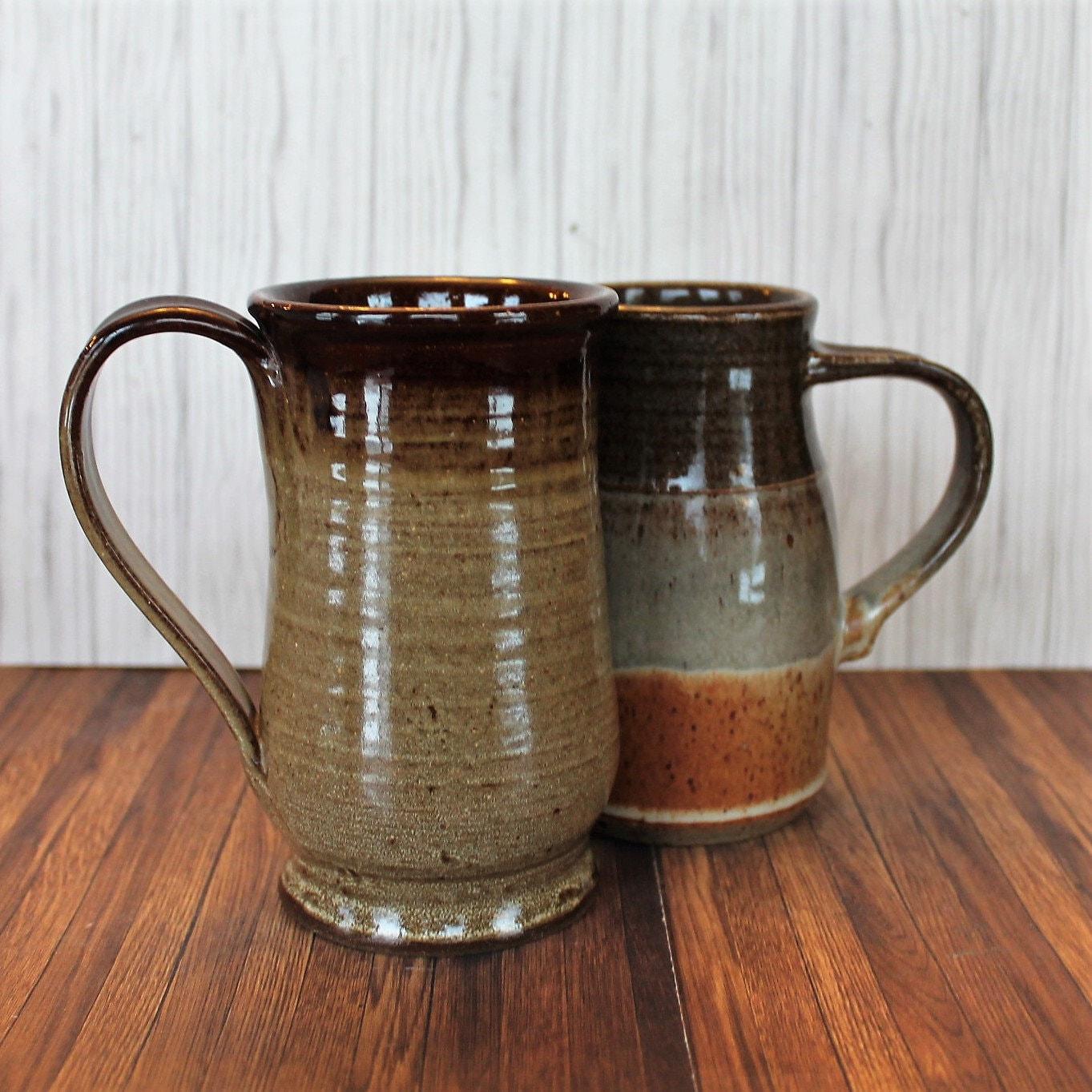 Vintage Stoneware Pottery Large 12 oz. Mug Coffee Cup Set ...