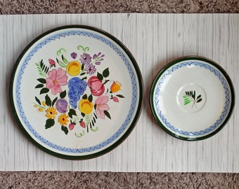 Vintage Stangl Pottery Fruit and Flowers Ceramic Dinner Plate and Saucer Blue Green and White Floral Design Redware