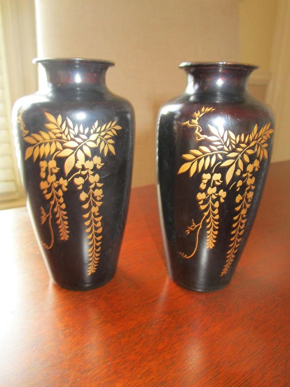 Vintage Pair Of Lacquered Japanese Vases Etsy