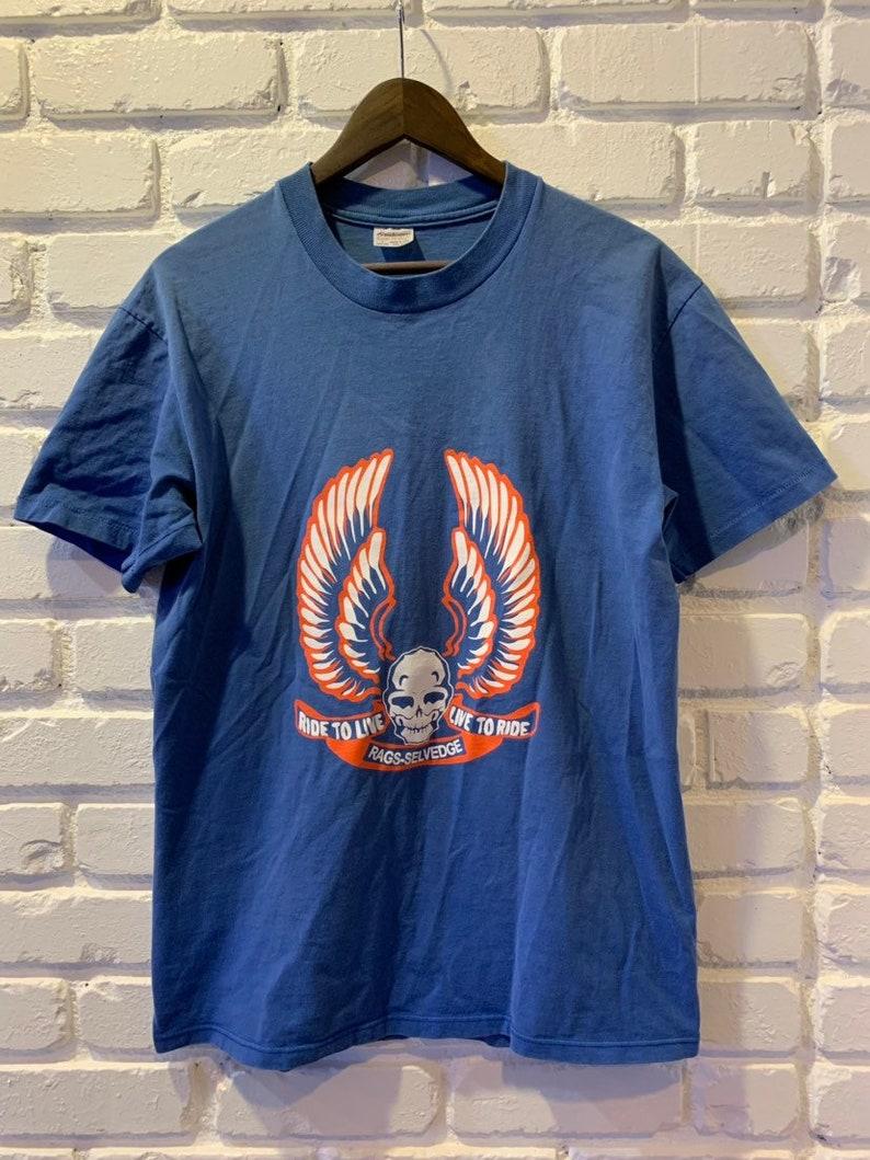 b0fd5740 Vintage Harley Davidson Rags Selvedge t-shirt size L   Etsy