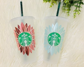 Sunflower Starbucks Cup, Floral Custom Cold Cup, Personalized Cold Cup, Gift for her