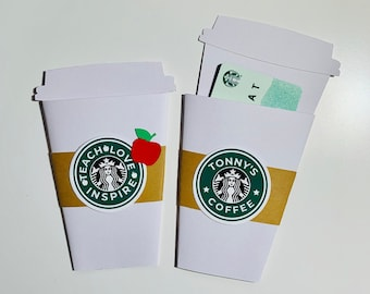 Coffee Gift Card Holder, Gift Card Holder, Starbucks Gift Card, Thank You Gift Card