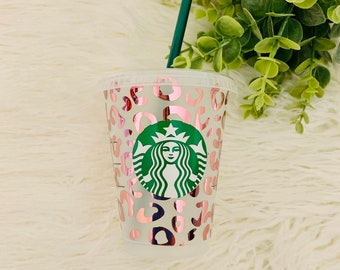 Grande Starbucks Cup, Leopard Starbucks Cup, Personalized Starbucks Cup, Gift for her, Pastel Rainbow Straw