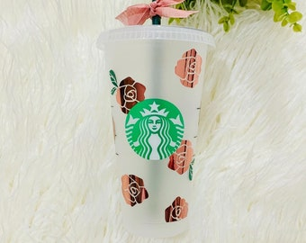 Floral Starbucks Cup, Rose Tumbler, Personalized Gift, Venti Starbucks Cup, Tumbler with Straw
