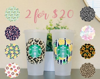 Personalized Starbucks Cup, Patterned Tumbler, Venti Cup with Straw, Makes a great gift, Customizable Tumbler, Starbucks Cup