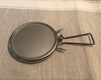Vintage Round Barber Mirror, Magnifying standing or hanging, Mid Century french vintage old barber mirror