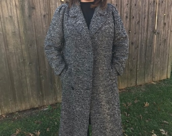 Vintage Black and White Tweed Coat, Dress coat size Large - 12/14/16