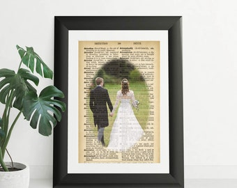 Personalized Photo on Vintage Dictionary Page of a Special Moment, Wedding Photo, Grandparent Photo