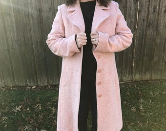Vintage Pink and Off White Tweed Coat, Dress coat size Large - 12/14
