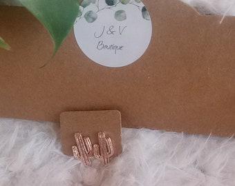 Cactus Earrings, Minimalist earring, cactus , cactus boucle, stud earrings