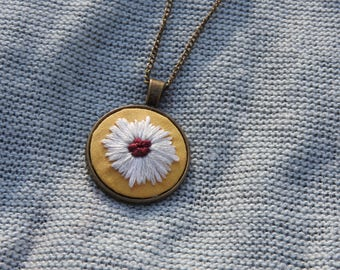 Flower Hand Embroidered Necklace