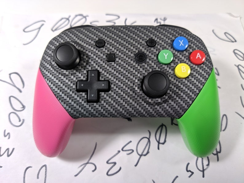 New Nintendo Switch Carbon Fiber Styled Custom Pro Controller w/ Pink and  Green Handles & SNES Buttons