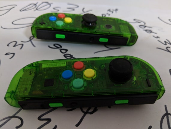 New Nintendo Switch Custom Joycons Clear Jungle Green Joy Con Controllers  with SNES Colored Buttons
