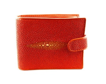 Portefeuille wally galuchat/cuir ORANGE