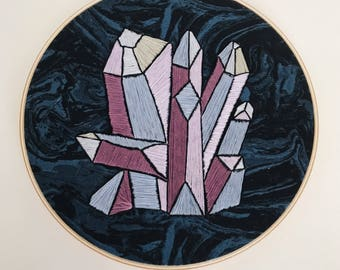Amethyst Embroidery Art / Geometric Decor / Hand Embroidery