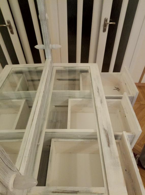 White Glass Top Vanity Table Vanity Set Vanity Mirror Etsy