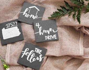 Custom Hand-Lettered Slate Coasters