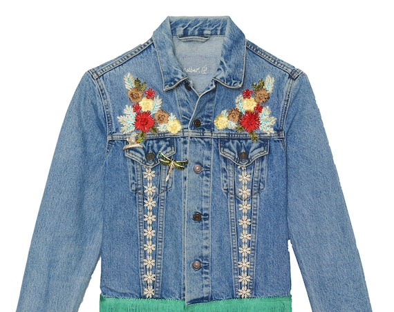 Available to order jacket woman floral (personalization with the name of your choice)
