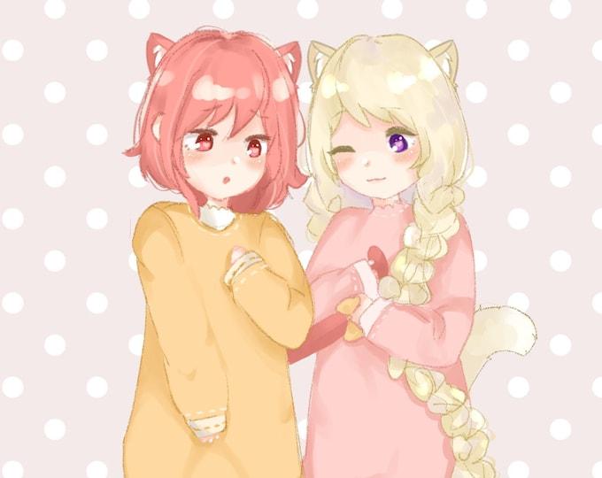 PRE-ORDER Elise and Sakura Neko A5 Print