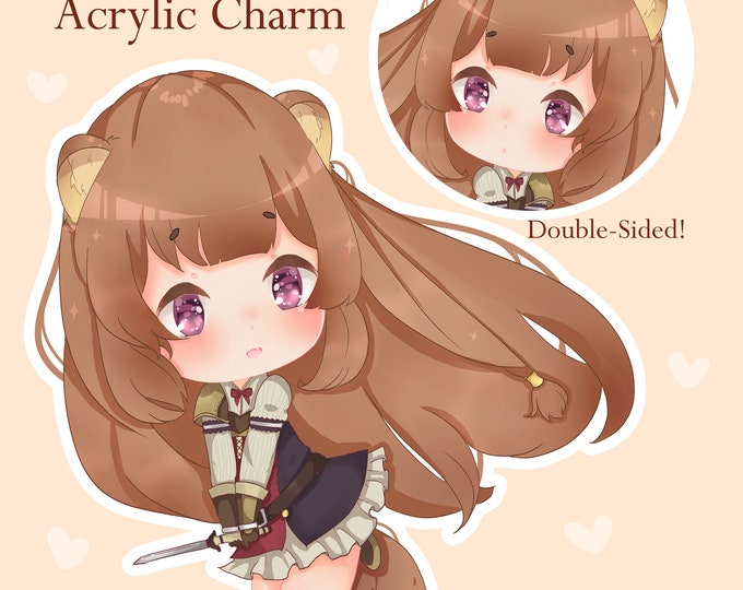 "PRE-ORDER Raphtalia Shield Hero 2"" Glitter Double Sided Acrylic Charm"
