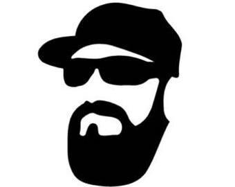 Beard and hat decal sticker Laptop Car Truck woods bearded villain man hair respect elder mustache ride label growth natural