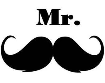 Mr. Mustache Mister decal sticker Laptop Car Truck woods bearded villain man hair respect elder mustache ride label growth natural