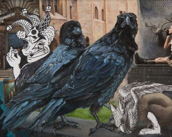 The Blue Birds. Dream as you Wish. Original mixed media and oil painting. Mixed Media Art. Handmade