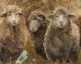 Golden Fleece. Sheeps. Original Oil Painting with real Coins and Gold. Mixed Media Art. Handmade