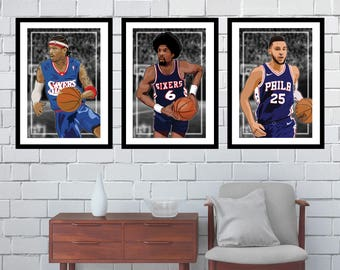 9f3a26c8564 3 Posters of Philadelphia 76ers - Allen Iverson, Ben Simmons, Julius