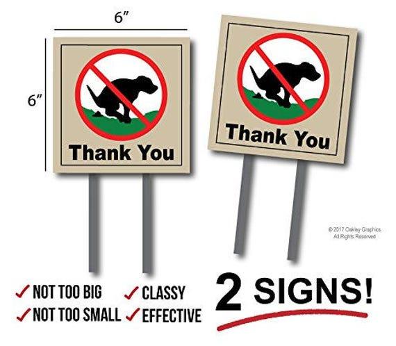 2 Pet Free Area SignsNo Dog PoopingNo Poop No Pee Sign Dog Yard Sign