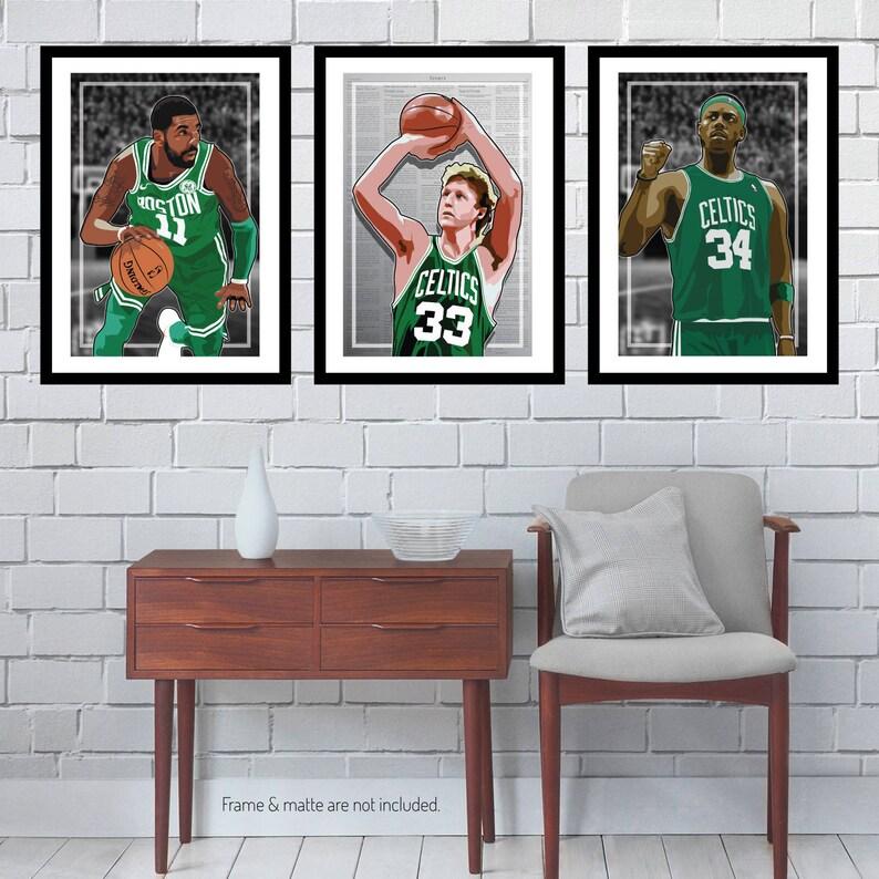 a69d30c0b66e 3 Posters of Boston Celtics Larry Bird Kyrie Irving Paul