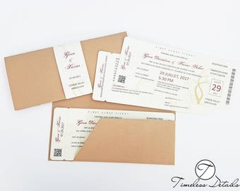 Boarding Pass Die Cut Destination Wedding Invitations w/ Belly Band