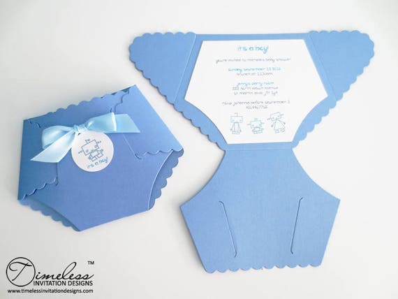 die cut baby shower celebration baptism diaper invitations etsy