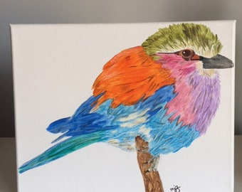 Original Painting, Fluffy Bird, 8x10 acrylic painting on stretched canvas
