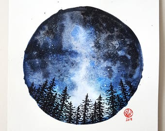 Watercolor Starry Night Sky Tree Silhouette Painting 9x12, Wall Art
