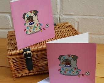 Pug Fairy Lights Card - Pug Christmas Card, Funny Card, Cute Card, Pug Illustration, Animal Greetings Card, Pug Love Card, Chocolate Love