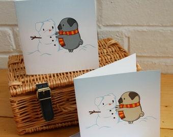 Pug Snowman Card - Pug Christmas Card, Funny Card, Cute Card, Pug Illustration, Animal Greetings Card, Pug Love Card