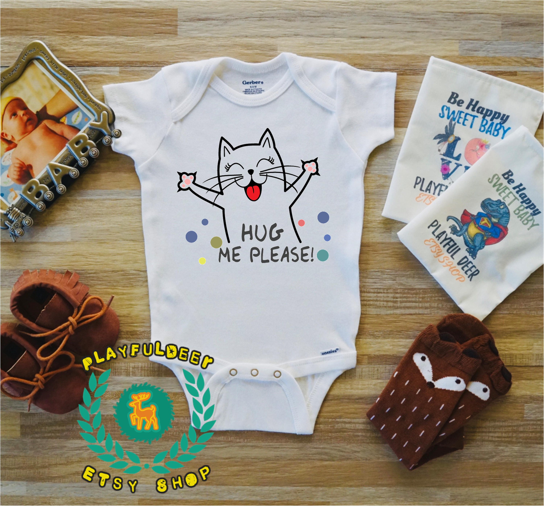 4e3c39dae Hug Me Please Newborn Baby Onesie Cute Cat Onesie Animal