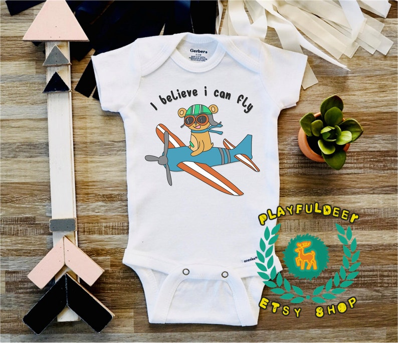 446d9869e I Believe I Can Fly Cute Baby Bear Onesie Airplane Onesie | Etsy