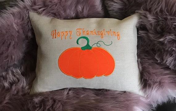 Housse de coussin de Thanksgiving Happy Thanksgiving Applique broderie taie d'oreiller avec fermeture à glissière cachée, pendaison de crémaillère