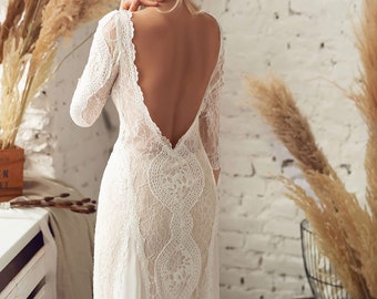 6c76bc6d403bd Wedding dress with sleeves - Vintage Boho Wedding Dress - White Lace Dress  - Backless Wedding Dress - Bohemian Lace Dress