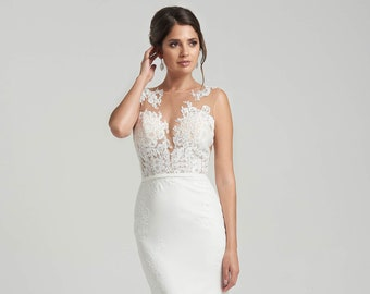 a417bec3013a1 Crepe soft mermaid wedding dress with illusion back with asymmetrical lace  details